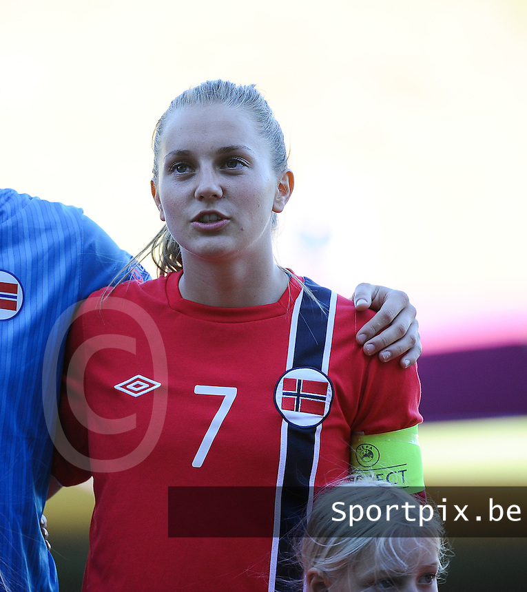 20140718 - Tonsberg , NORWAY : Norwegian Vilde Boa Risa pictured during the female soccer match between Women under 19 teams of Norway and Belgium , on the second matchday in group A of the UEFA Women Under19 European Championship at Tonsberg Stadion , Norway . Friday 18th July 2014 . PHOTO DAVID CATRY