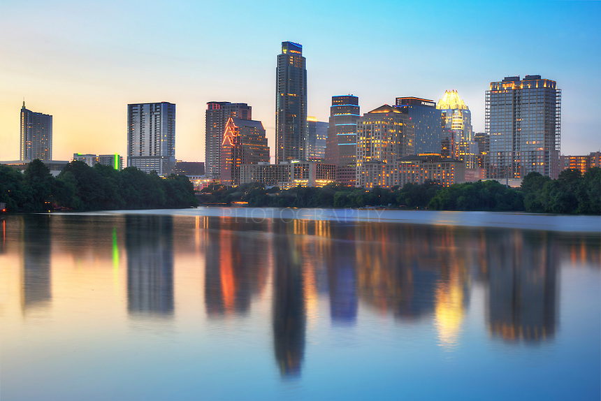 This summer evening photos of the skyline in downtown Austin, Texas, comes from the newly constructed Boardwalk that runs along Lady Bird Lake.