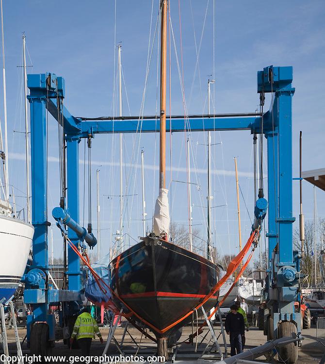 Boat hoist lift at Levington marina, Suffolk, England
