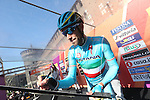 Italian National Champion Vincenzo Nibali (ITA) Astana at sign on before the start of Milano-San Remo cycling race at Piazza Castello in Milan, Italy. 19th March 2016.<br /> Picture: ANSA/CLAUDIO PERI | Newsfile<br /> <br /> <br /> All photos usage must carry mandatory copyright credit (© Newsfile | Claudio Peri)