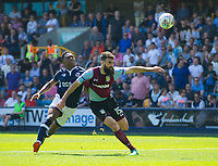 Millwall's Fred Onyedinma and Aston Villa Mile Jedinak during the Sky Bet Championship match between Millwall and Aston Villa at The Den, London, England on 6 May 2018. Photo by Andrew Aleksiejczuk / PRiME Media Images.