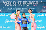 Esteban Chaves (COL) Mitchelton-Scott retains the Maglia Azzurra on the podium at the end of Stage 8 of the 2018 Giro d'Italia, running 209km from Praia a Mare to Montevergine di Mercogliano, Italy. 12th May 2018.<br /> Picture: LaPresse/Gian Mattia D'Alberto | Cyclefile<br /> <br /> <br /> All photos usage must carry mandatory copyright credit (&copy; Cyclefile | LaPresse/Gian Mattia D'Alberto)