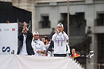 Sergio Ramos, Cristiano Ronaldo and Keylor Navas during the celebration of the victory of the Real Madrid Champions League at Plaza de Cibeles in Madrid. May 28. 2016. (ALTERPHOTOS/Borja B.Hojas)