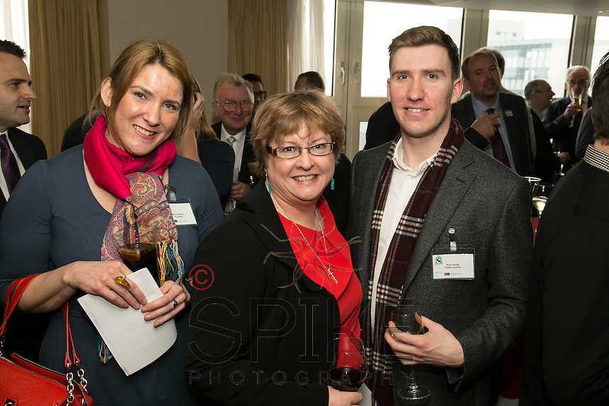 Pictured from left are Penny Strutton of PS Ltd, Claire Bell of Actons and Ross Davies of Strafe Creative
