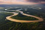 Bolivia, Beni Department, aerial view of  Mamore´ River winding through Amazonian rain forest