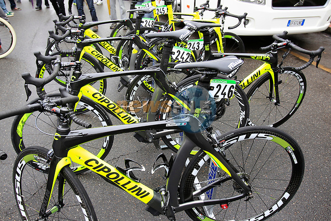 Vini Fantini-Selle Italia Cipollini bikes lined up at the start of the 104th edition of the Milan-San Remo cycle race at Castello Sforzesco in Milan, 17th March 2013 (Photo by Eoin Clarke 2013)
