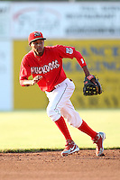 Batavia Muckdogs shortstop Yunier Castillo (7) during a game vs. the Auburn Doubledays at Dwyer Stadium in Batavia, New York June 19, 2010.   Batavia defeated Auburn 2-1.  Photo By Mike Janes/Four Seam Images