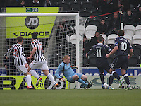 Craig Samson diving in with his feet to save in the St Mirren v Ross County Clydesdale Bank Scottish Premier League match played at St Mirren Park, Paisley on 19.1.13.
