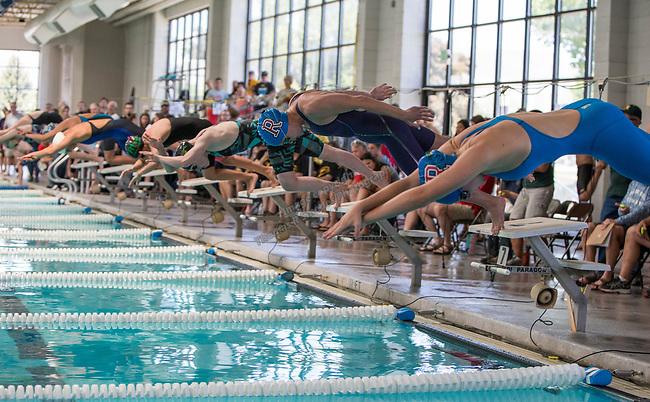 The start of the girls 4A 200 yard freestyle race during the State Swimming Meet in Carson City on Saturday, May 20, 2017.