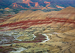 Painted Hills Unit, John Day Fossil Beds National Monument, OR<br /> Patterns and stratified colors in the volcanic formations of the Painted Hills