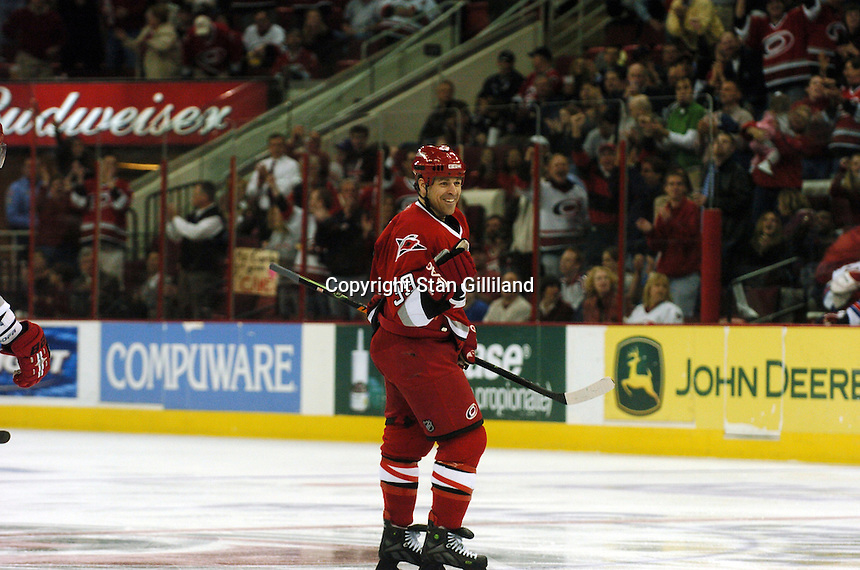 Carolina Hurricanes' Doug Weight celebrates the first of his two goals against the New York Rangers Tuesday, March 14, 2006 at the RBC Center in Raleigh, NC. Carolina won 5-3.