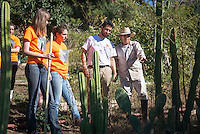 Students and an alum tour Solano Canyon Community Garden, near the 110 freeway in Los Angeles.<br />