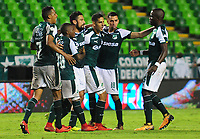 PALMIRA - COLOMBIA - 14 - 02 - 2018: Los jugadores de Deportivo Cali celebran el gol anotado a Boyaca Chico F. C., durante partido de la fecha 3 por la liga Aguila I 2018, jugado en el estadio Deportivo Cali (Palmaseca) en la ciudad de Palmira. /  The players of Deportivo Cali celebrate a scored goal to Boyaca Chico F. C., during a match of the 3rd date for the Liga Aguila I 2018, at the Deportivo Cali (Palmaseca) stadium in Palmira city. Photo: VizzorImage  / Nelson Rios / Cont.