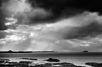 Storm Clouds over Belhaven Bay, Bass Rock and North Berwick Law from the John Muir Way, John Muir Country Park, Dunbar, East Lothian