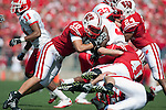 Wisconsin Badgers defense tackles an Austin Peay Governors running back during an NCAA college football game on September 25, 2010 at Camp Randall Stadium in Madison, Wisconsin. The Badgers beat the Governors 70-3. (Photo by David Stluka)