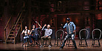 "Lauren Boyd, Anthony Lee Medina, Javon McFerrin, Bryan Terrell Clark from the 'Hamilton' cast during the student Q & A before  The Rockefeller Foundation and The Gilder Lehrman Institute of American History sponsored High School student #EduHam matinee performance of ""Hamilton"" at the Richard Rodgers Theatre on 4/26/2017 in New York City."