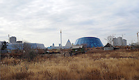 Astana, the capitol of Kazakstan, seen from an old village that soon will be demolished.<br /> <br /> PHOTO BY RICHARD JONES/SINOPIX
