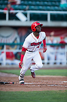 Orem Owlz center fielder D'Shawn Knowles (4) hits a home run during a Pioneer League game against the Ogden Raptors at Home of the OWLZ on August 24, 2018 in Orem, Utah. The Ogden Raptors defeated the Orem Owlz by a score of 13-5. (Zachary Lucy/Four Seam Images)