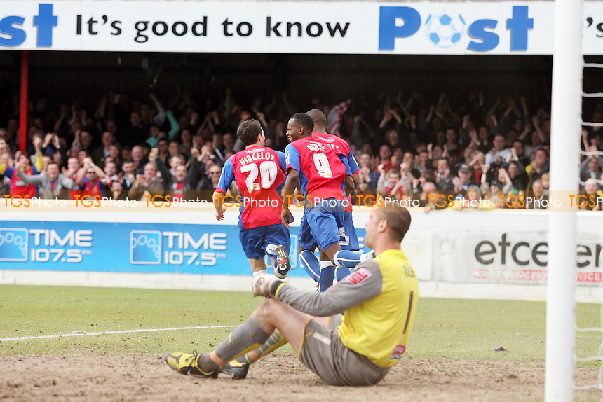 Josh scott of Dagenham celebrates scoring the third goal - Dagenham & Redbridge vs Morecambe 16/05/2010 - MANDATORY CREDIT: Dave Simpson/TGSPHOTO - Self billing applies where appropriate - 0845 094 6026 - contact@tgsphoto.co.uk -NO UNPAID USE
