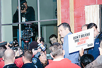Texas senator and Republican presidential candidate Ted Cruz briefly takes questions from the media after speaking at a town hall at Crossing Life Church in Windham, New Hampshire, on Tues. Feb. 2, 2016. The day before, Cruz won the Iowa caucus.
