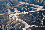 Aerial over snow-capped Rocky Mountains of Colorado in winter