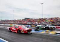 Sep 28, 2019; Madison, IL, USA; NHRA pro stock driver Erica Enders (left) alongside Deric Kramer during qualifying for the Midwest Nationals at World Wide Technology Raceway. Mandatory Credit: Mark J. Rebilas-USA TODAY Sports