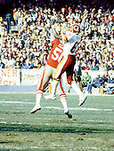 Washington, D.C. - January 8, 1984 -- Washington Redskins wide receiver Charlie Brown (87) leaps for a pass in the NFC Championship game against the San Francisco 49ers at RFK Stadium in Washington, D.C. on Sunday, January 8, 1984. The Redskins won the game 24 - 21 to go to Super Bowl XVIII..Credit: Arnie Sachs / CNP