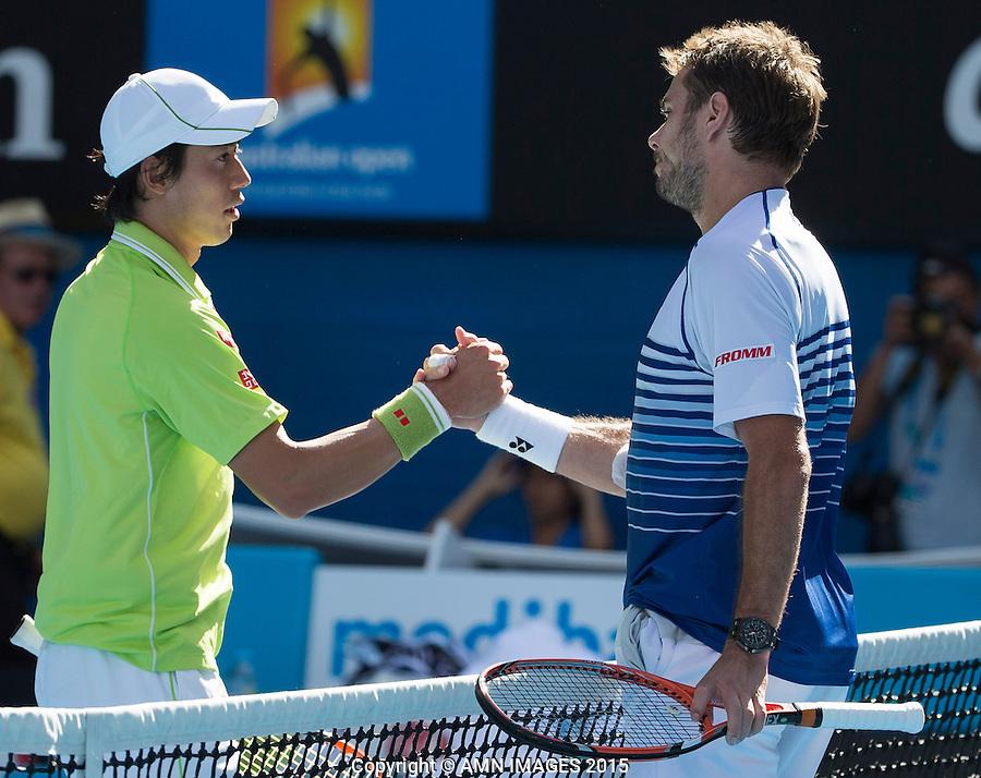 STANISLAS WAWRINKA (SUI) KEI NISHIKORI (JPN)<br /> <br />  - Australian Open 2015 - Grand Slam -  Melbourne Park - Melbourne - Victoria - Australia  - 28 January 2015. <br /> &copy; AMN IMAGES