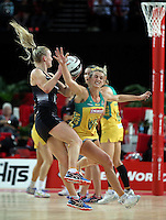 15.10.2016 Silver Ferns Shannon Francois and Australia's Gabi Simpson in action during the Silver Ferns v Australia netball test match played at Vector Arena in Auckland. Mandatory Photo Credit ©Michael Bradley.