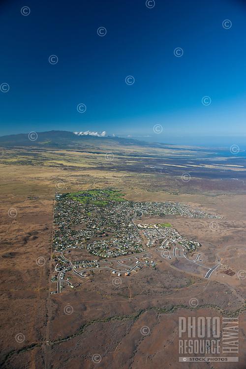 Aerial view of Waikoloa Village looking towards Hualalalai