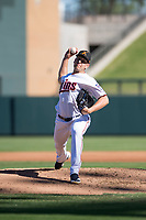 Salt River Rafters relief pitcher Adam Bray (16), of the Minnesota Twins organization, delivers a pitch during an Arizona Fall League game against the Surprise Saguaros at Salt River Fields at Talking Stick on November 5, 2018 in Scottsdale, Arizona. Salt River defeated Surprise 4-3 . (Zachary Lucy/Four Seam Images)