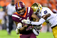 Blacksburg, VA - OCT 6, 2018: Virginia Tech Hokies running back Coleman Fox (16) picks up a first down during 1st half action of game between Notre Dame and Virginia Tech at Lane Stadium/Worsham Field Blacksburg, VA. (Photo by Phil Peters/Media Images International)