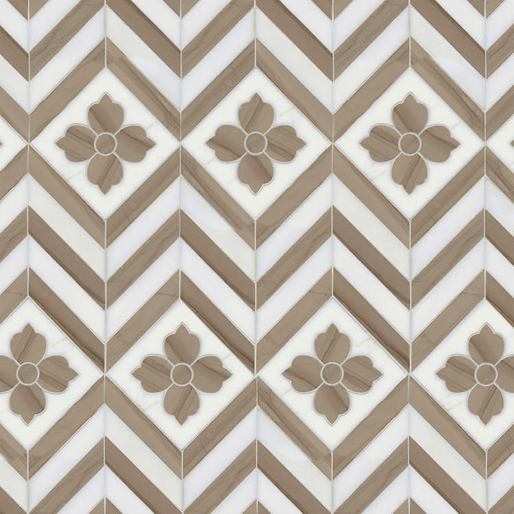 Maharaja 1, a waterjet stone mosaic shown in polished Driftwood and honed Thassos, is part of the Silk Road® collection by New Ravenna.