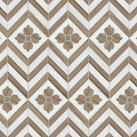 Maharaja 1, a hand-cut and waterjet stone mosaic, shown in polished Driftwood and honed Calacatta Tia, is part of the Silk Road Collection by Sara Baldwin for New Ravenna Mosaics. <br /> <br /> Take the next step: prices, samples and design help, http://www.newravenna.com/showrooms/