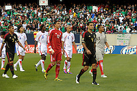 Mexico captain Rafael Marquez (4) leads the Mexican National Team onto the field.  Mexico defeated Costa Rica 4-1 at the 2011 CONCACAF Gold Cup at Soldier Field in Chicago, IL on June 12, 2011.
