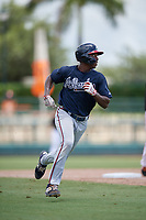 GCL Braves Mahki Backstrom (40) running the bases during a Gulf Coast League game against the GCL Orioles on August 5, 2019 at Ed Smith Stadium in Sarasota, Florida.  GCL Orioles defeated the GCL Braves 4-3 in the second game of a doubleheader.  (Mike Janes/Four Seam Images)