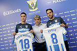 CD Leganes' new players Sabin Merino (l) and Recio (r) with the General Mananger Txema Indias during their official presentation. September 12, 2018. (ALTERPHOTOS/Acero)