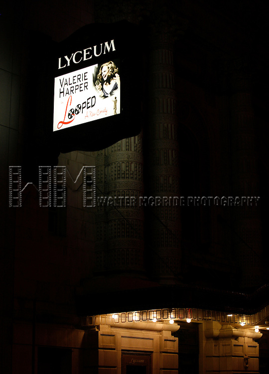 """Theatre Marquee for """"LOOPED"""" at the Lyceum Theatre in New York City. Valerie Harper star as Talullah Bankhead in a play by Matthew Lombardo, under the direction of Rob Ruggiero. January 24, 2010.© Alice Erardy / Starlitepics"""