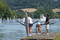 "Henley on Thames, United Kingdom, 24th June 2018, Sunday, ""Henley Women's Regatta"", view, Women's Single Scullers,, preparing for a training session, catty and  floats their Boats, Henley Reach, River Thames, Thames Valley, England, © Peter SPURRIER,  24/06/2018"