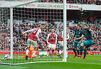 Southampton's Charlie Austin scoring second goal for Southampton during the EPL - Premier League match between Arsenal and Southampton at the Emirates Stadium, London, England on 8 April 2018. Photo by Andrew Aleksiejczuk / PRiME Media Images.