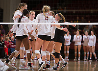STANFORD, CA - November 15, 2017: Merete Lutz, Tami Alade, Jenna Gray, Kathryn Plummer, Morgan Hentz at Maples Pavilion. The Stanford Cardinal defeated USC 3-0 to claim the Pac-12 conference title.