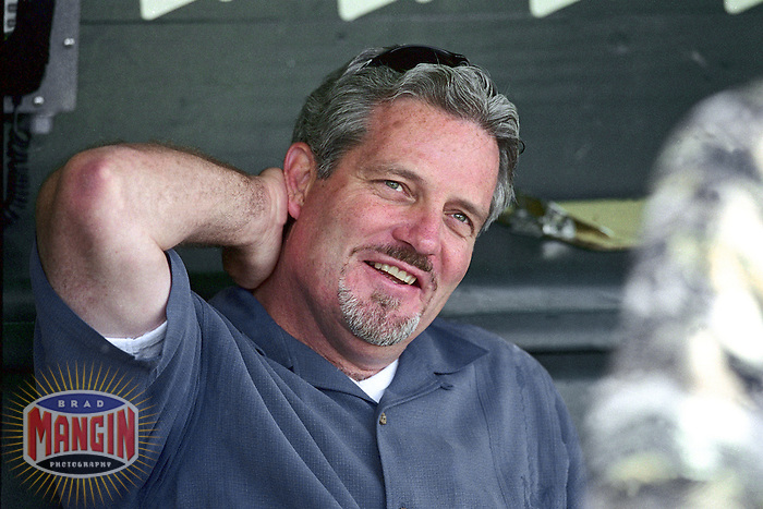 SAN FRANCISCO, CA - General Manager Brian Sabean of the San Francisco Giants talks to reporters on the field before a game at Pacific Bell Park in San Francisco, California in 2001. Photo by Brad Mangin