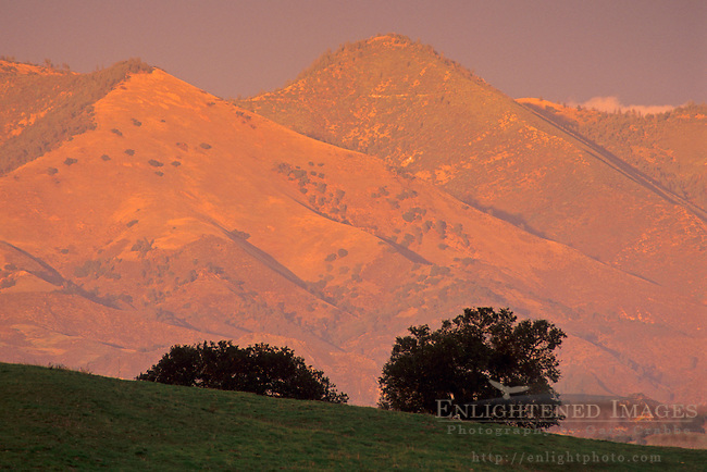Sunset in the hills near Los Olivos, Santa Barbara County, California