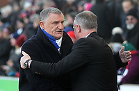 Blackburn Rovers Manager Tony Mowbray greets Stoke City's Manager Michael O'Neill <br /> <br /> Photographer Mick Walker/CameraSport<br /> <br /> The EFL Sky Bet Championship - Stoke City v Blackburn Rovers - Saturday 30th November 2019 - bet365 Stadium - Stoke-on-Trent<br /> <br /> World Copyright © 2019 CameraSport. All rights reserved. 43 Linden Ave. Countesthorpe. Leicester. England. LE8 5PG - Tel: +44 (0) 116 277 4147 - admin@camerasport.com - www.camerasport.com