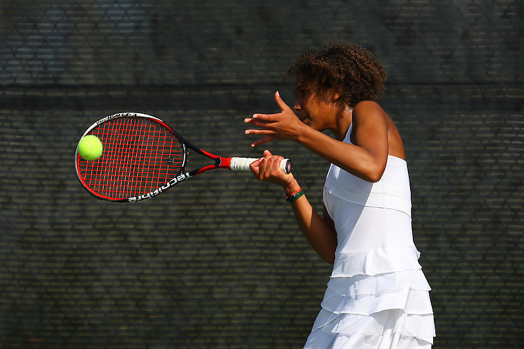 April 22, 2011; San Diego, CA, USA; San Francisco Dons singles Jessy Mekpoh during the WCC Tennis Championships at the Barnes Tennis Center.