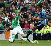 June 4th 2017, Aviva Stadium, Dublin, Ireland; International Friendly, Ireland versus Uruguay;  Glenn Whelan of Ireland tackles Matias Vecino of Uruguay