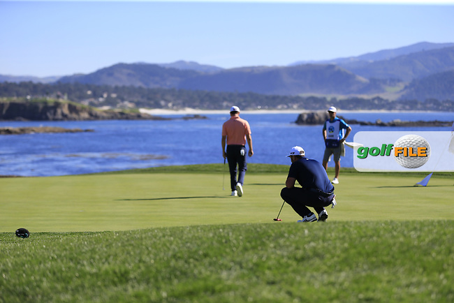 Jon Rahm (ESP) on the 18th green at Pebble Beach course during Friday's Round 2 of the 2018 AT&amp;T Pebble Beach Pro-Am, held over 3 courses Pebble Beach, Spyglass Hill and Monterey, California, USA. 9th February 2018.<br /> Picture: Eoin Clarke | Golffile<br /> <br /> <br /> All photos usage must carry mandatory copyright credit (&copy; Golffile | Eoin Clarke)