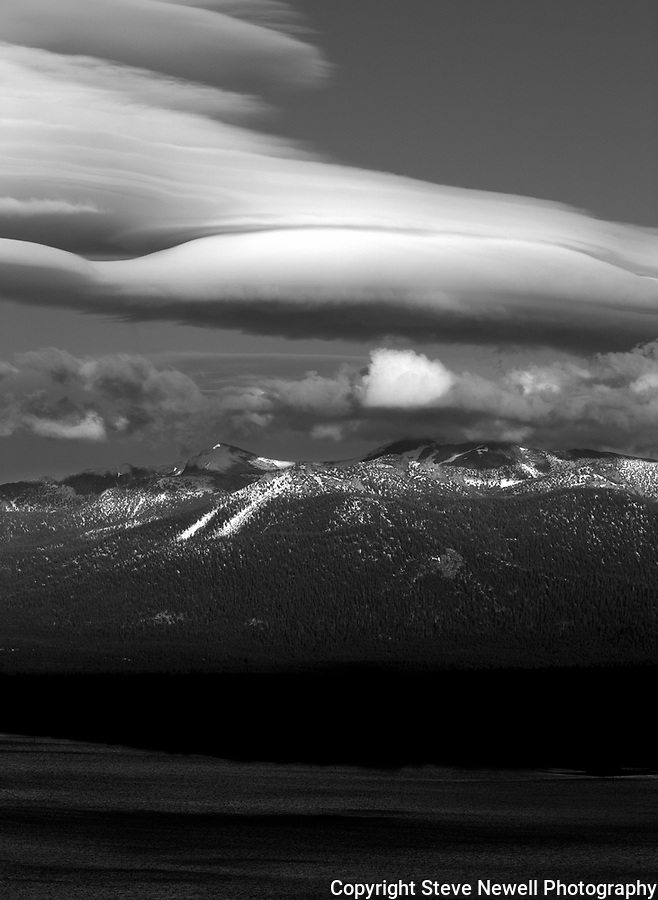 """Freel's Starship"" Black and White Freel Peak- Lake Tahoe, CA.  This spectacular lenticular cloud formed over South Lake Tahoe and Freel Peak, 10,881 ft.  Freel Peak is one of my favorite peaks in California.  Lenticular clouds only form in a few mountain ranges around the world.  I love Black and White photography!  I started in B/W film and still love it today."