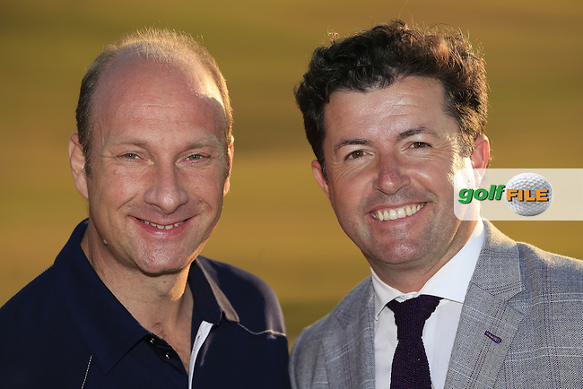 BBC's Stephen Watson and Fox Sports Shane O'Donoghue at the prize giving ceremony of the 115th 2015 U.S. Open Championship at the end of Sunday's Final Round held at Chambers Bay, Seattle, Washington, USA. 6/22/2015.<br /> Picture: Golffile | Eoin Clarke<br /> <br /> <br /> <br /> All photo usage must carry mandatory copyright credit (&copy; Golffile | Eoin Clarke)