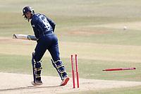 Alex Blake of Kent is bowled by Chris Jordan during Kent Spitfires vs Sussex Sharks, Vitality Blast T20 Cricket at The Spitfire Ground on 12th September 2020